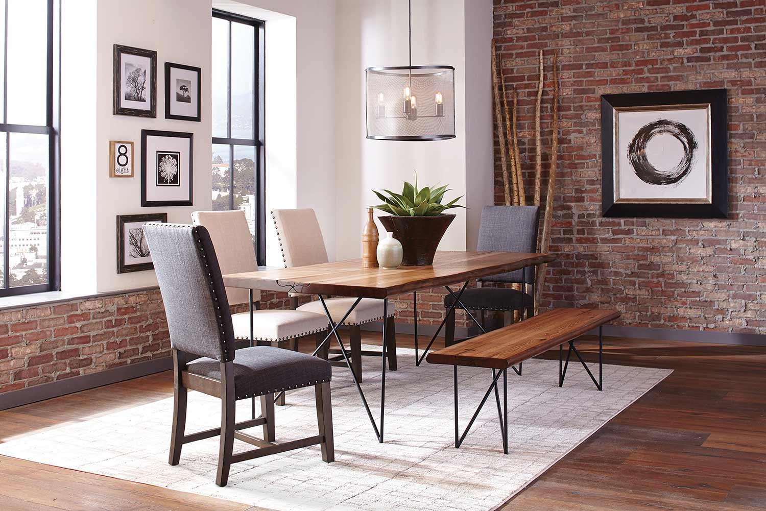 Coaster Sutherson Live Edge Dining Set - Natural Honey/Gunmetal