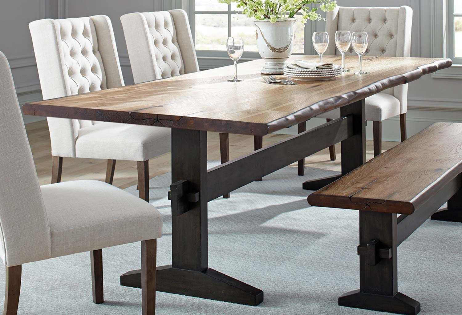 Coaster Burnham Live Edge Dining Table - Natural Honey/Espresso