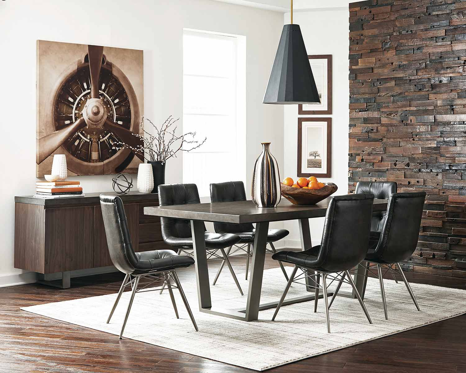 Coaster Hutchinson Dining Set - Aged Concrete/Gunmetal