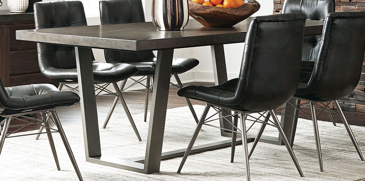 Coaster Hutchinson Dining Table - Aged Concrete/Gunmetal
