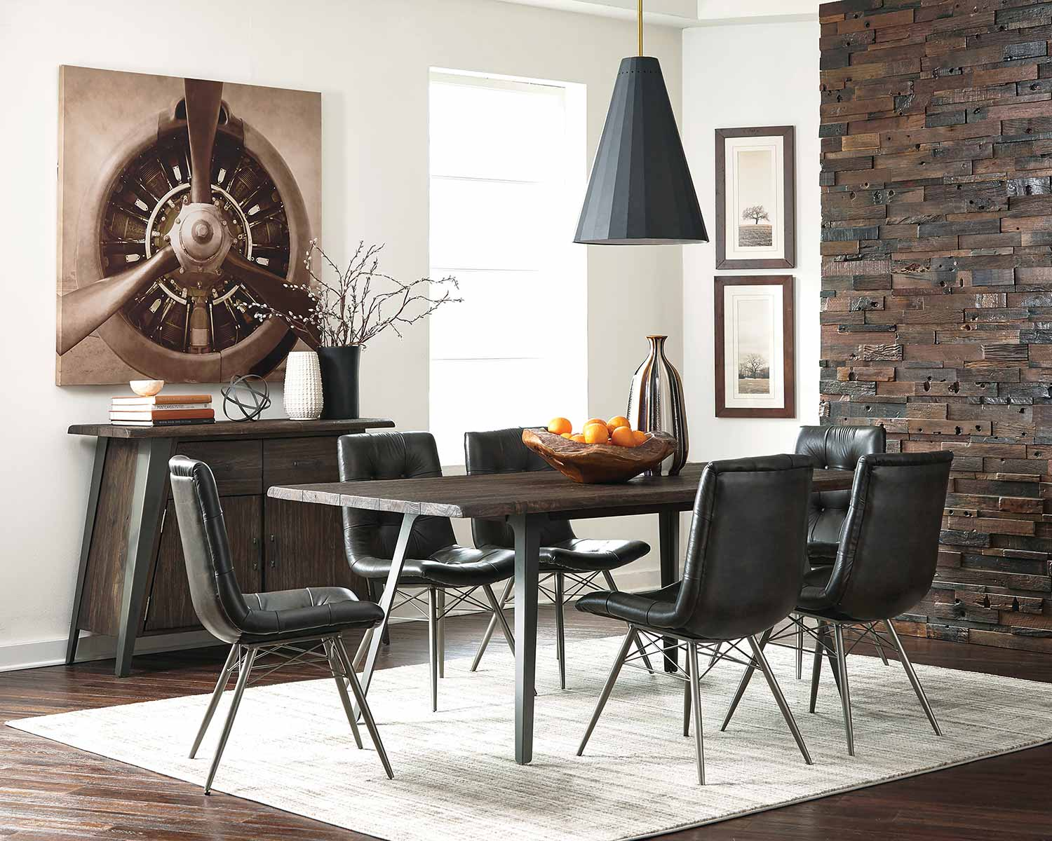 Coaster Fremont Dining Set - Dark Rustic Brown/Gunmetal