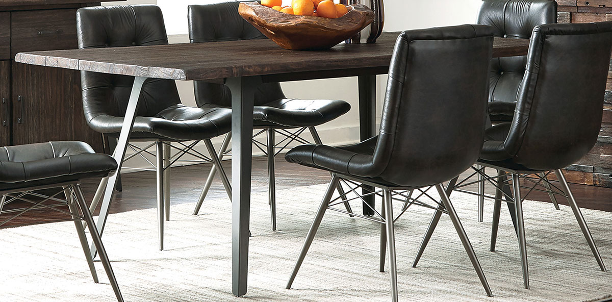 Coaster Fremont Dining Table - Dark Rustic Brown/Gunmetal