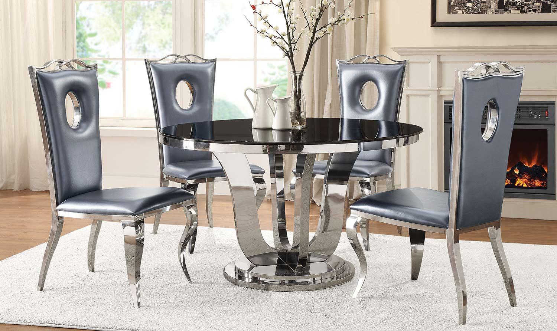 Coaster Blasio Dining Set - Chrome/Grey
