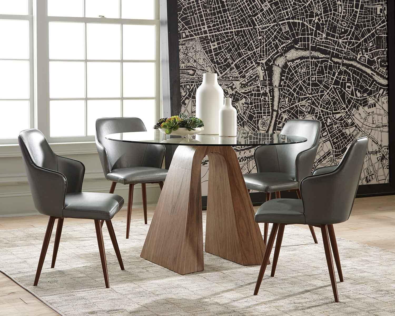 Coaster Abbott Dining Set - Walnut/Metallic Grey