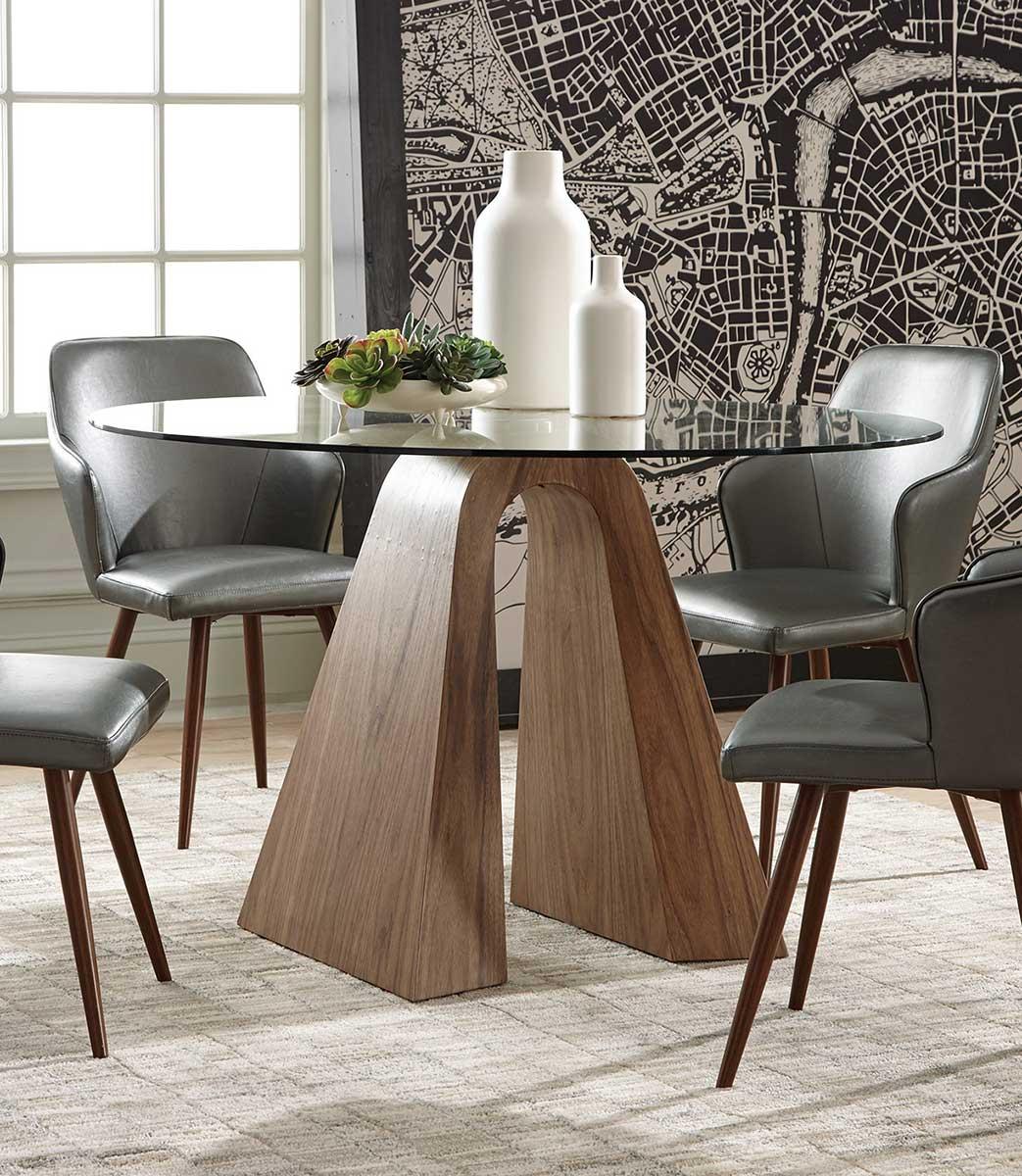 Coaster Abbott Dining Table - Walnut/Metallic Grey