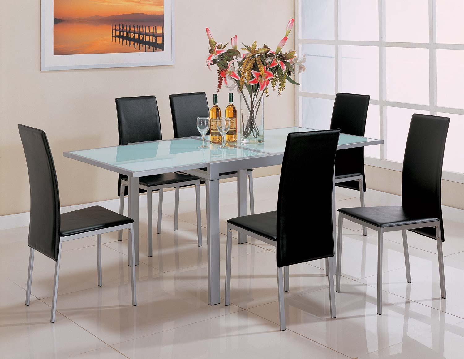 Coaster Sunrise Frosted Glass Top Dining Set