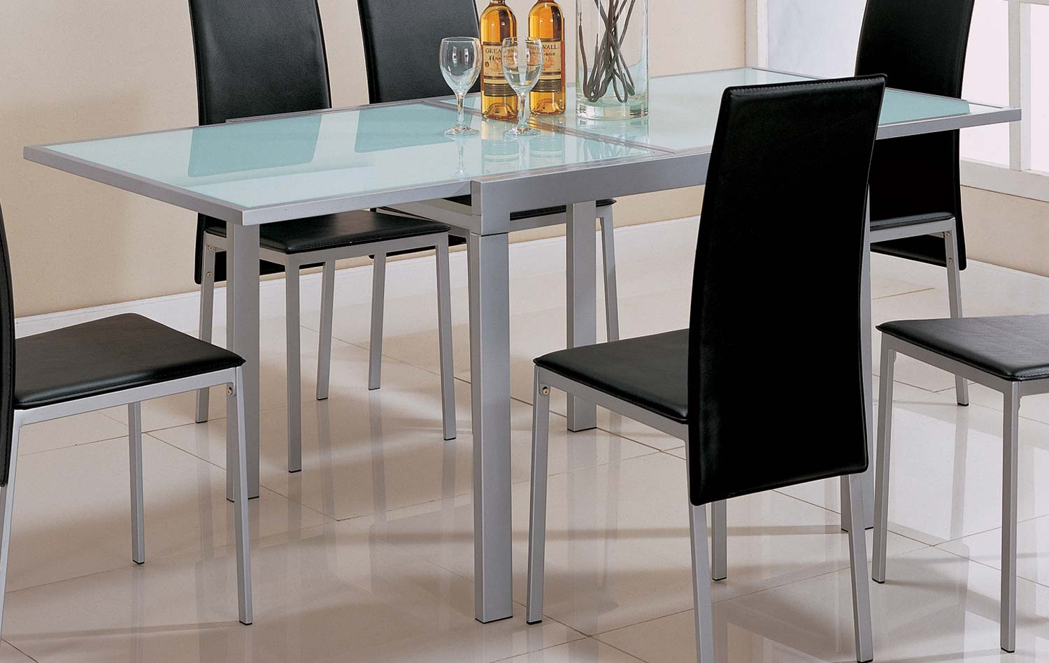 Coaster sunrise frosted glass top dining table 120211 at for Frosted glass dining table