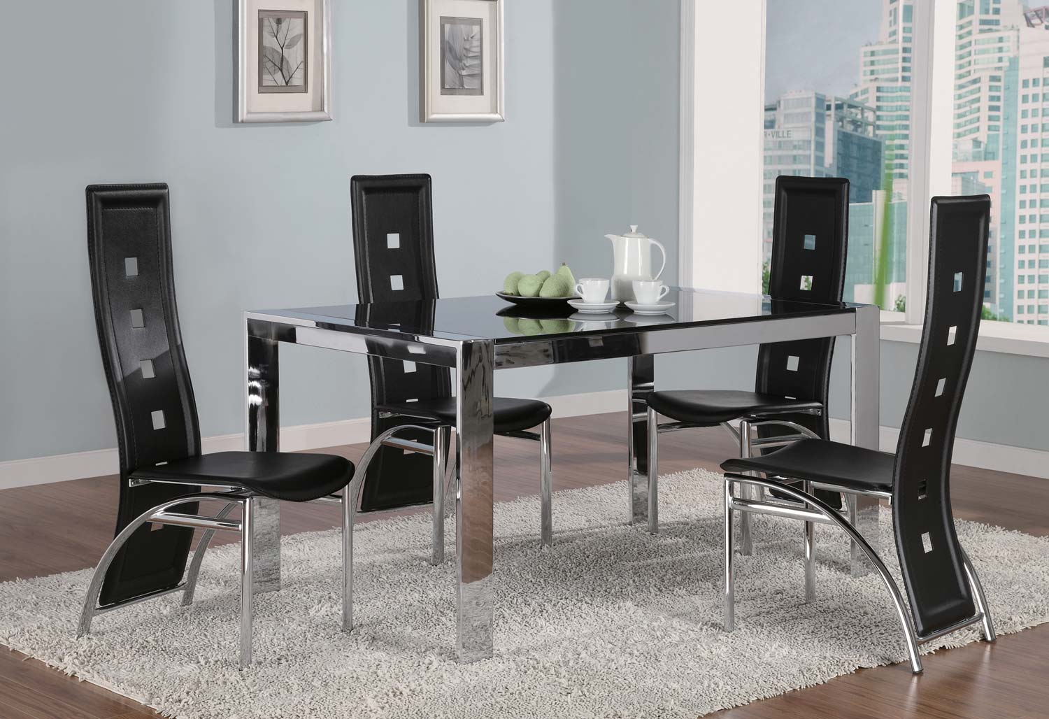 Coaster Broward Tinted Glass Top Dining Set