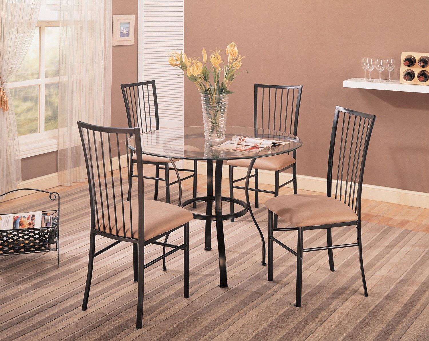 Coaster 120566 5-Piece Dining Set - Dark Metal/Tan Fabric