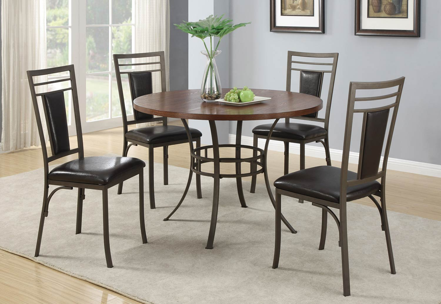 Coaster Dinettes 5 Piece Dining Set - Cherry/Metal