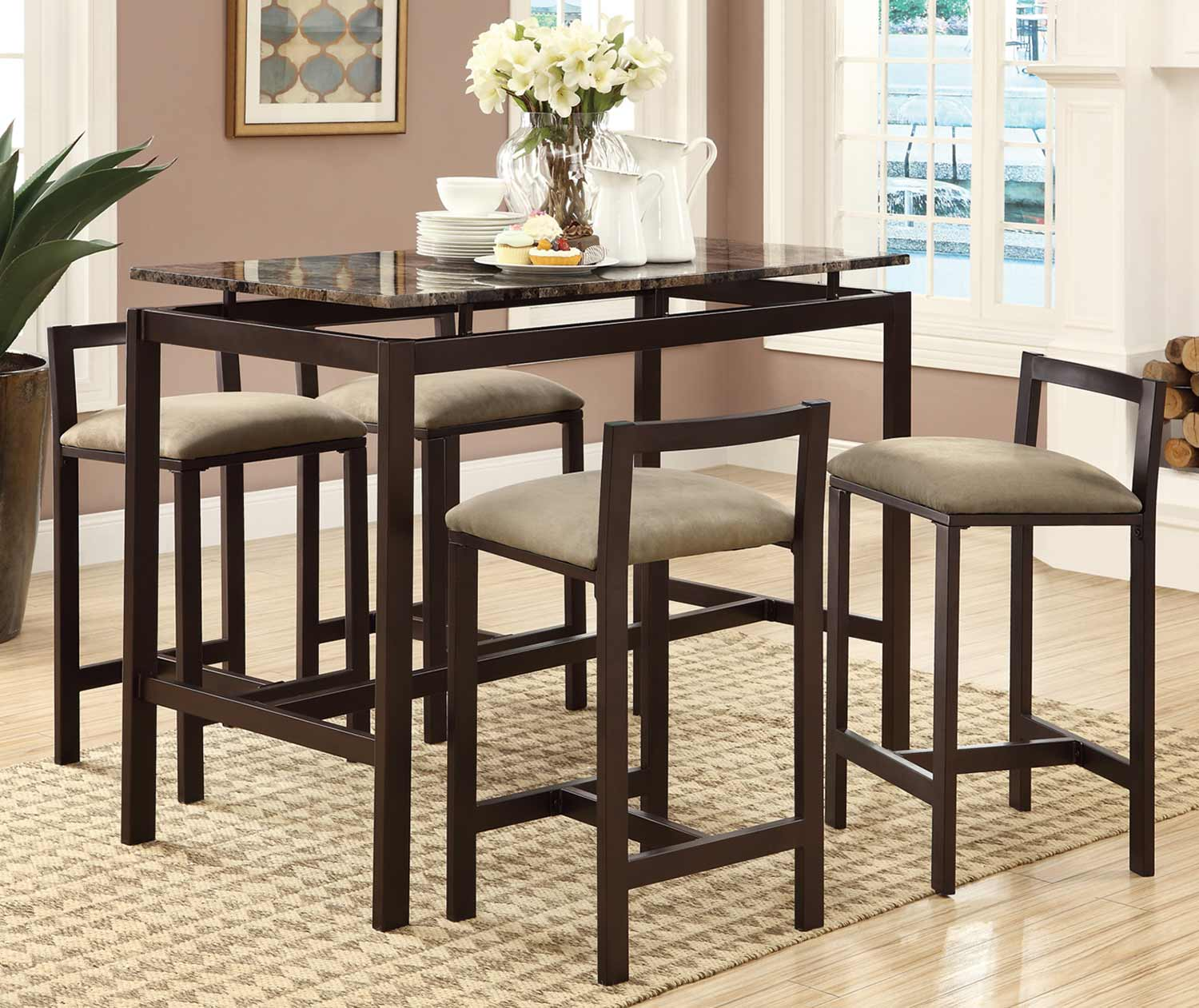 Coaster Dinettes 5 Piece Bar Stool Set - Brown
