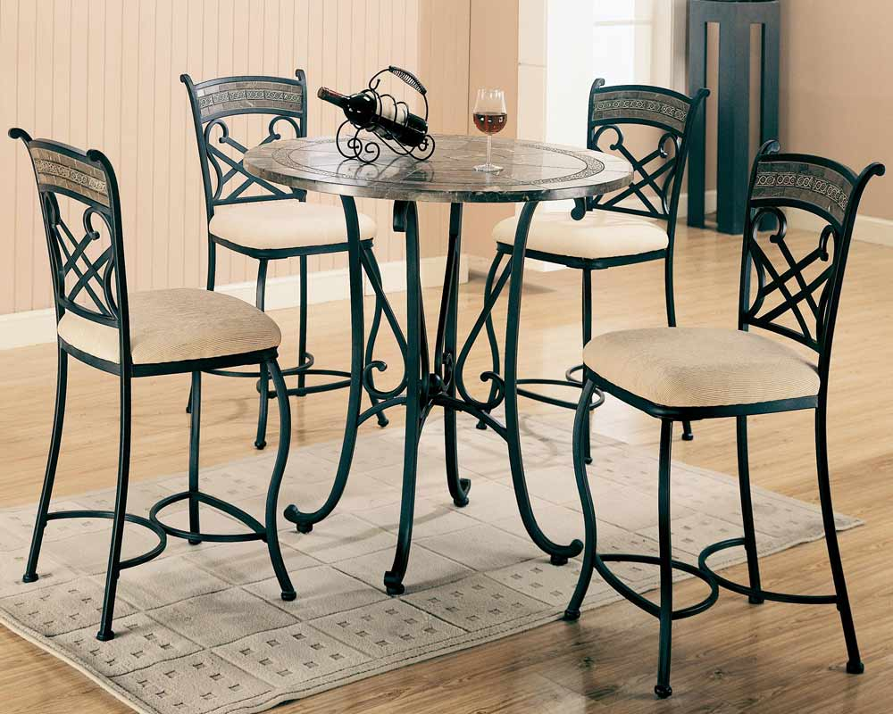 Coaster Ardith Round Marble Counter Height Dining Set - Cappucino