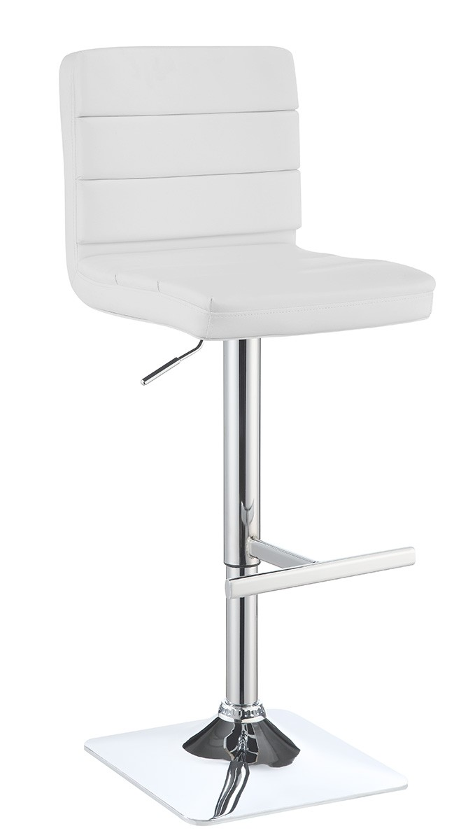 Coaster 120694 Adjustable Bar Stool - Chrome/White