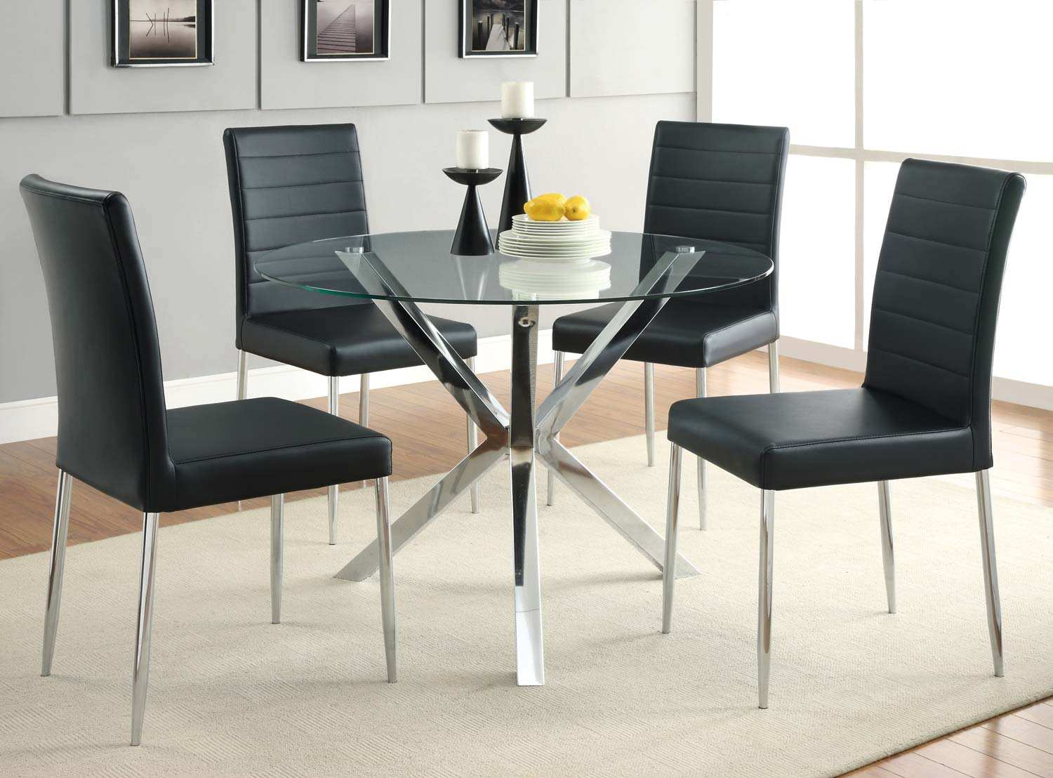 Coaster Vance Round Glass Dining Set - Black Chair