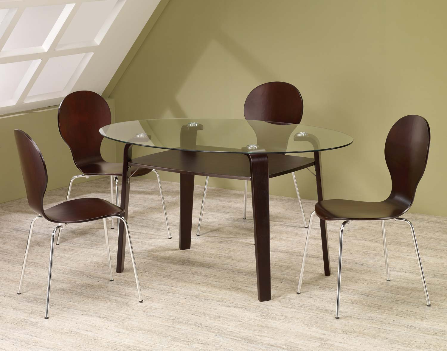 Coaster Orval Oval Glass Top Dining Set