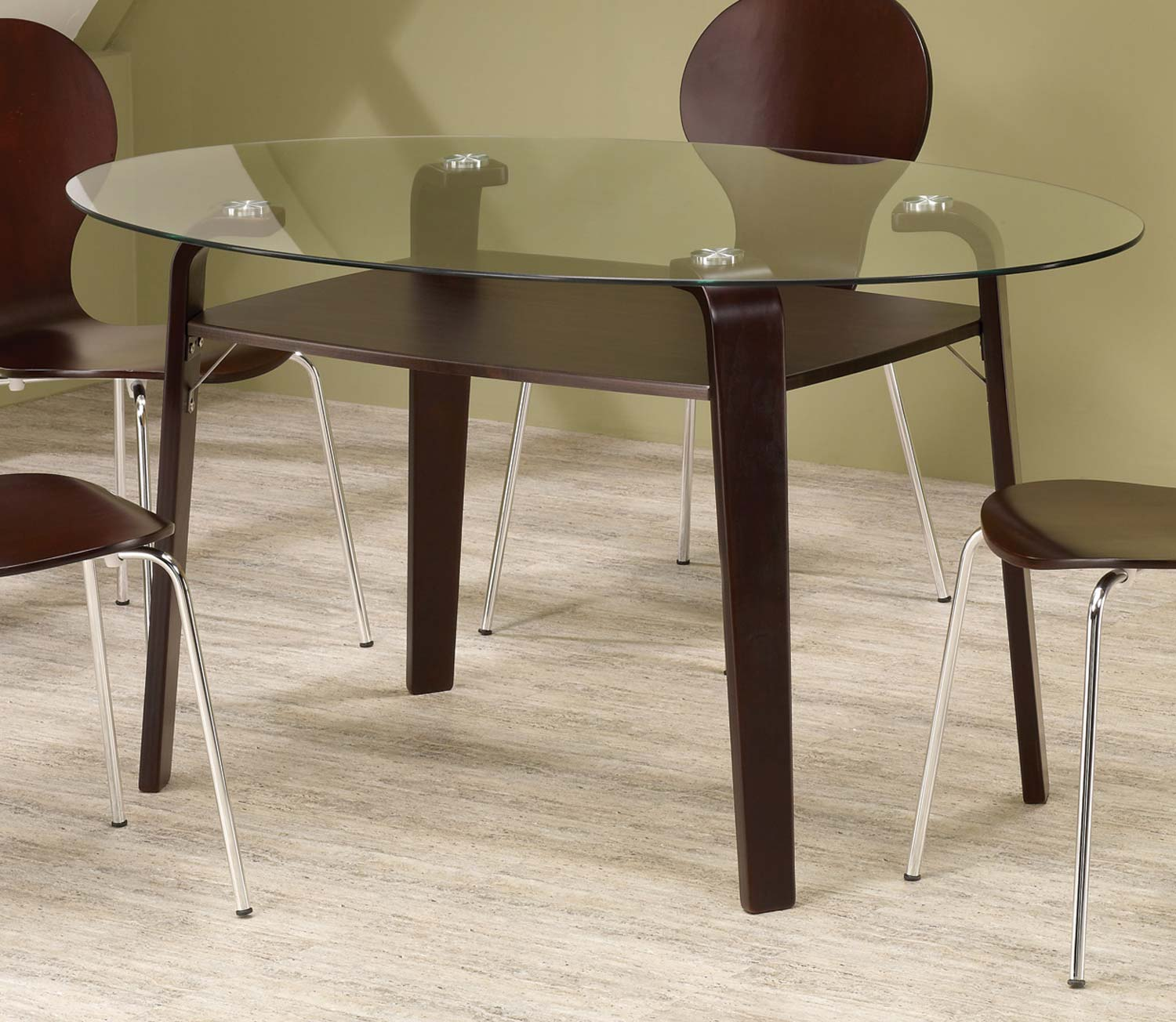 Coaster Orval Oval Glass Top Dining Table 120791 At
