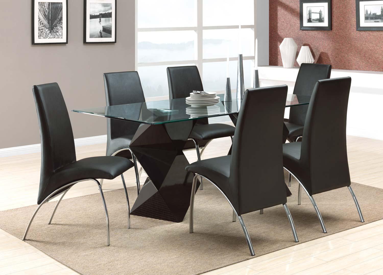 Coaster Ophelia Rectangular Glass Dining Set