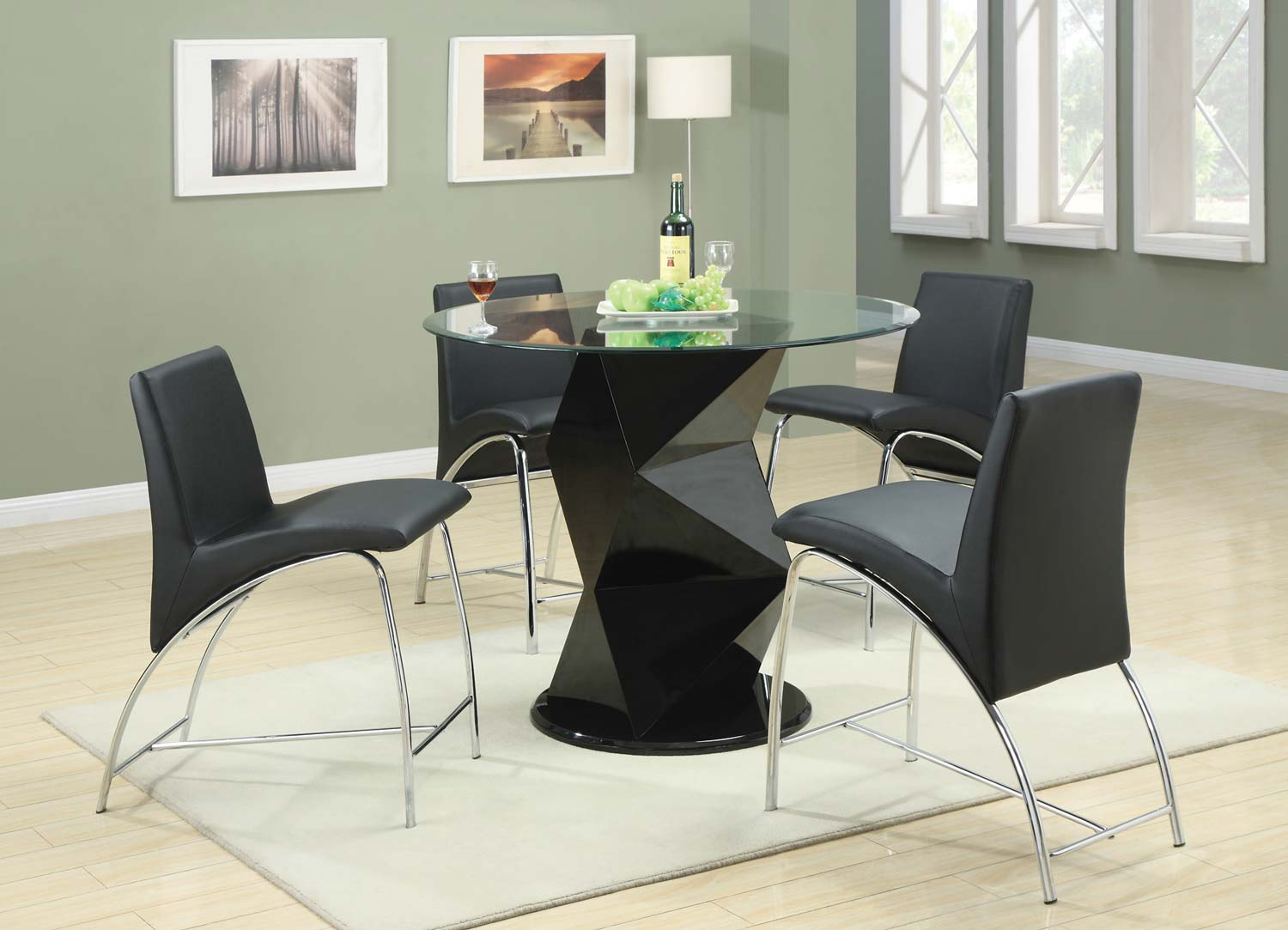 Coaster Ophelia Round Glass Counter Height Dining Set