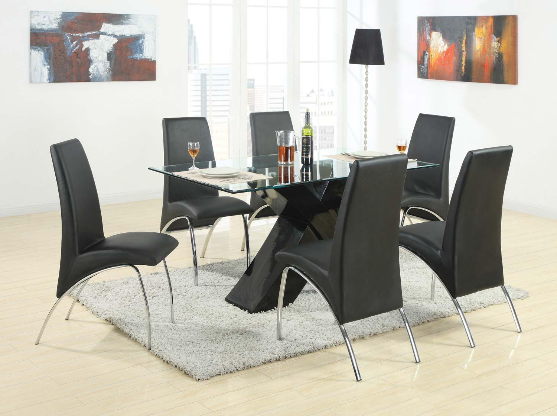 Coaster Ophelia X-Base Glass Dining Set - Black