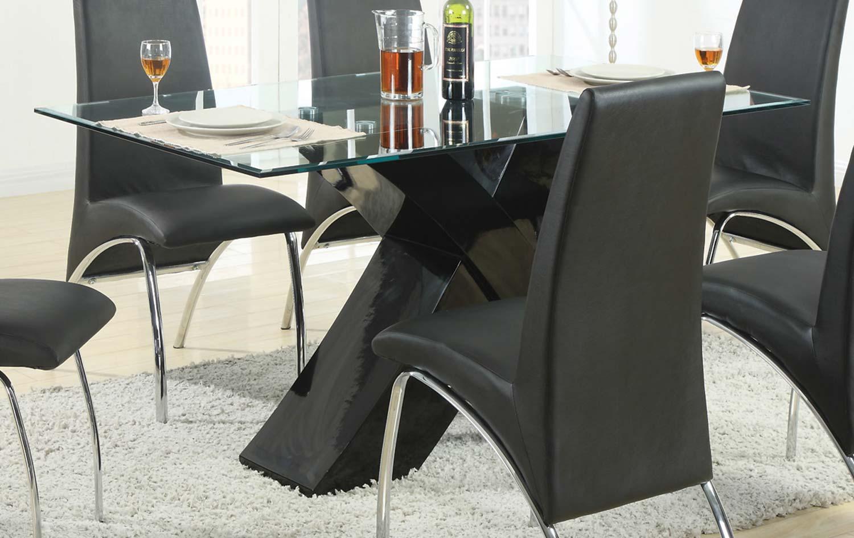 Coaster Ophelia X-Base Glass Dining Table - Black
