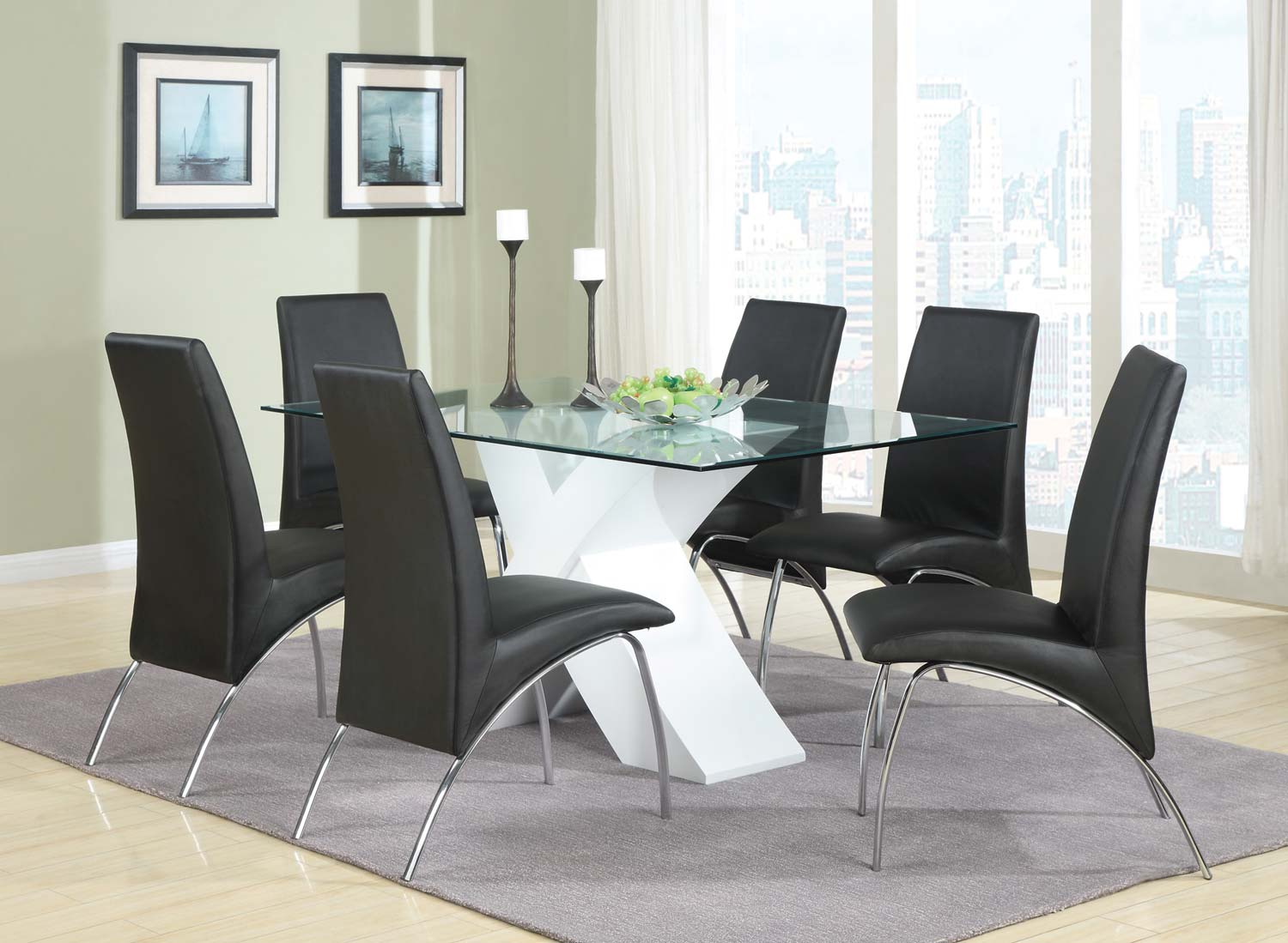 Coaster Ophelia X-Base Glass Dining Set - White