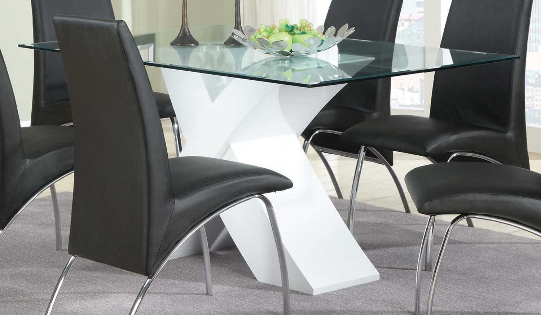 Coaster Ophelia X-Base Glass Dining Table - White