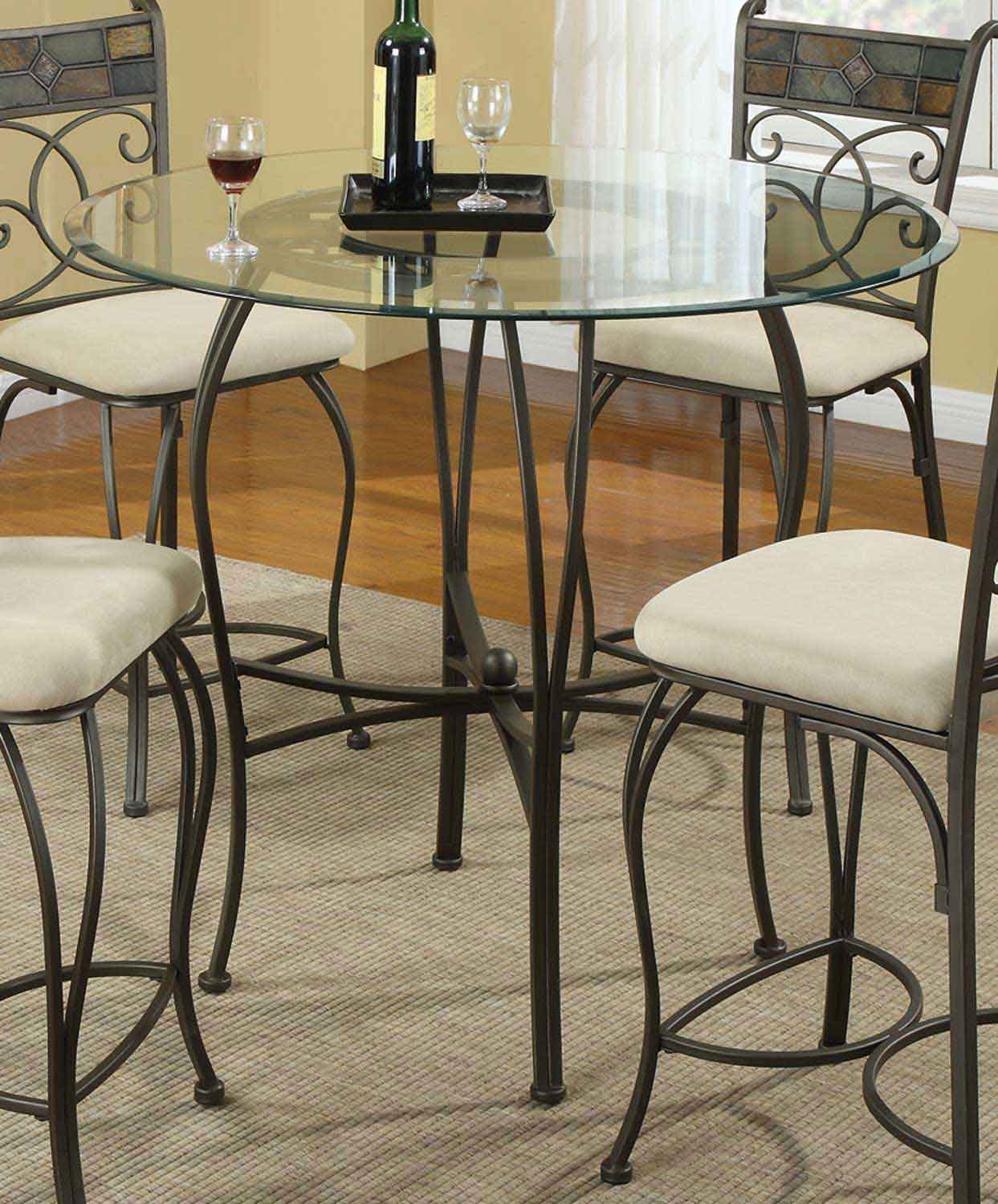 Coaster 120838 Round Glass Top Counter Height Dining Set