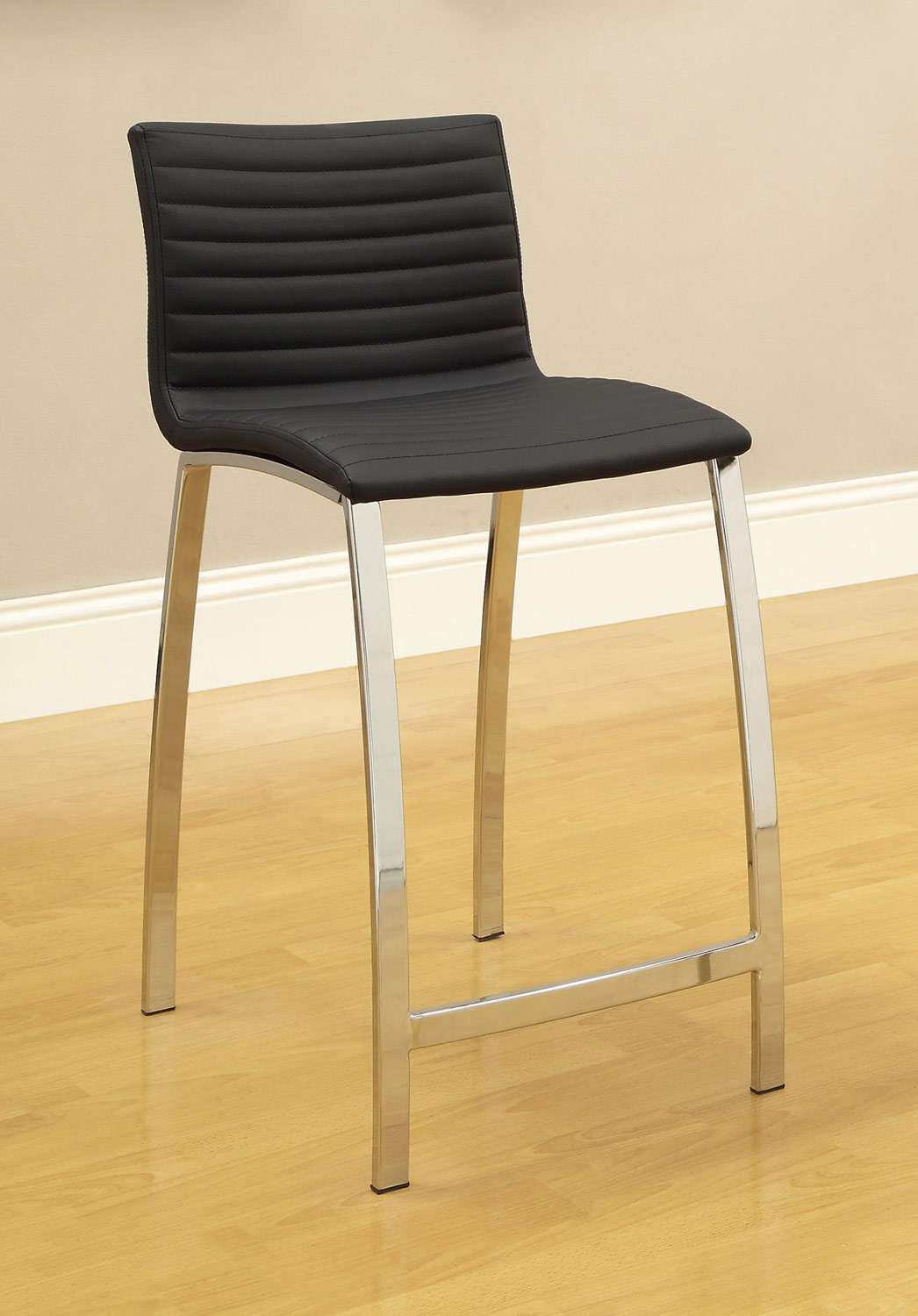 Coaster Ribbed Counter Height Stool - Black 120889