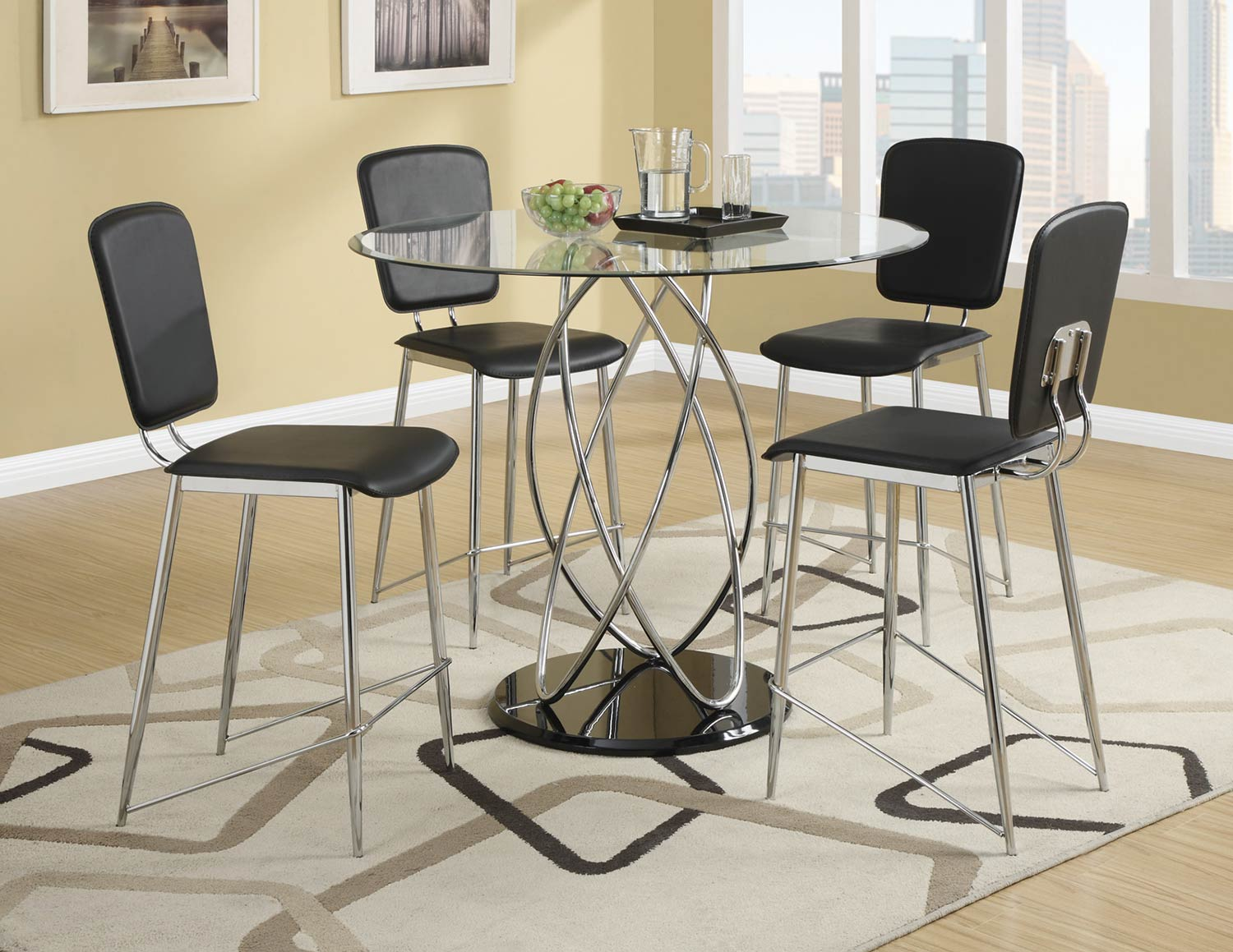 Coaster Ciccone Counter Height Dining Set - Chrome/Glossy Black