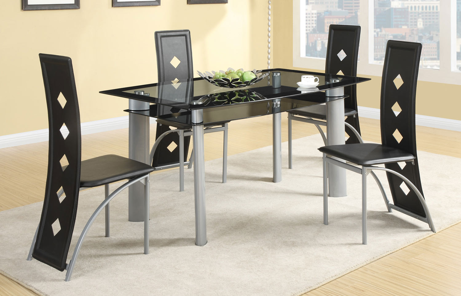 Coaster Fontana Dining Set - Silver Metal