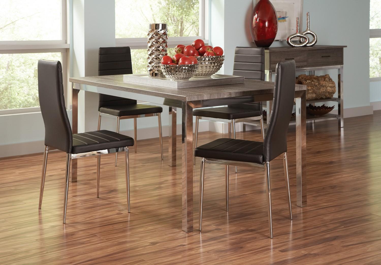 Coaster Eldridge Dining Set - Weathered Grey Chrome