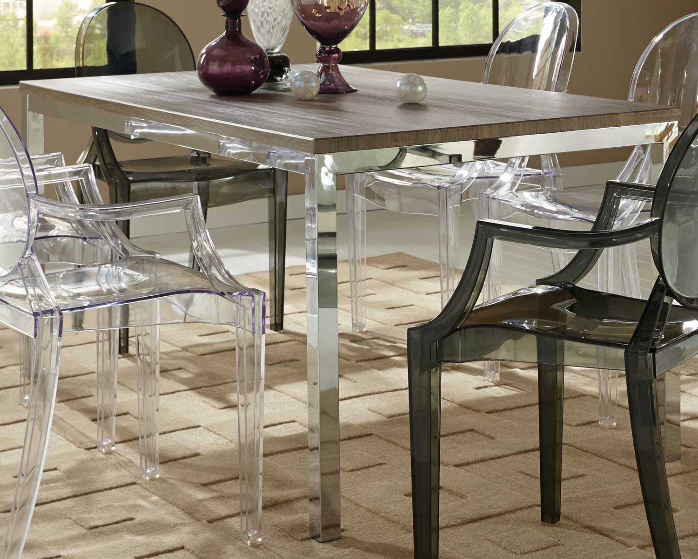 Coaster Eldridge Dining Table - Weathered Grey chrome