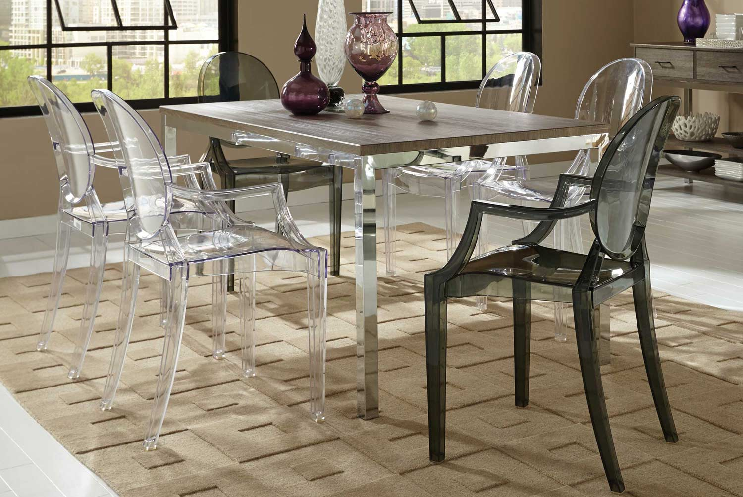 Coaster Eldridge Dining Set - Weathered Grey Chrome