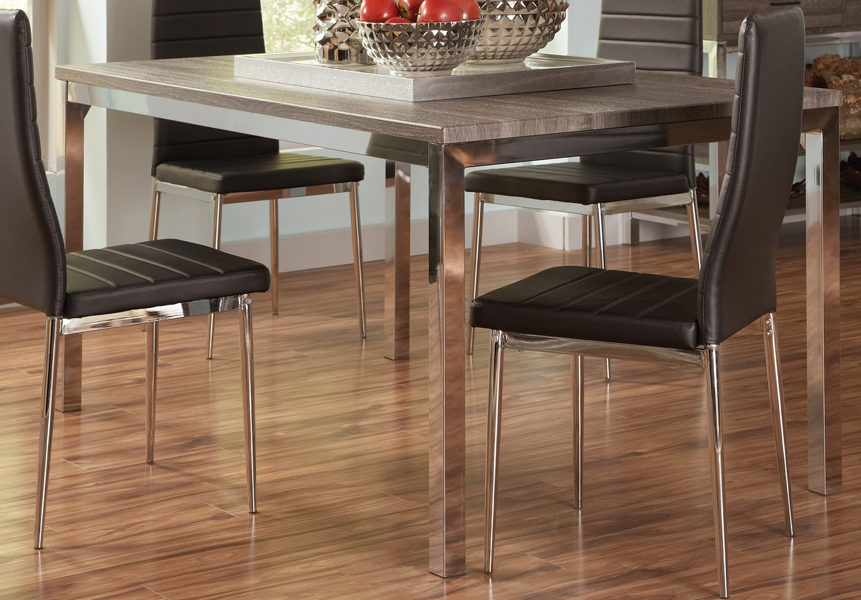 Coaster Eldridge Dining Table   Weathered Grey Chrome