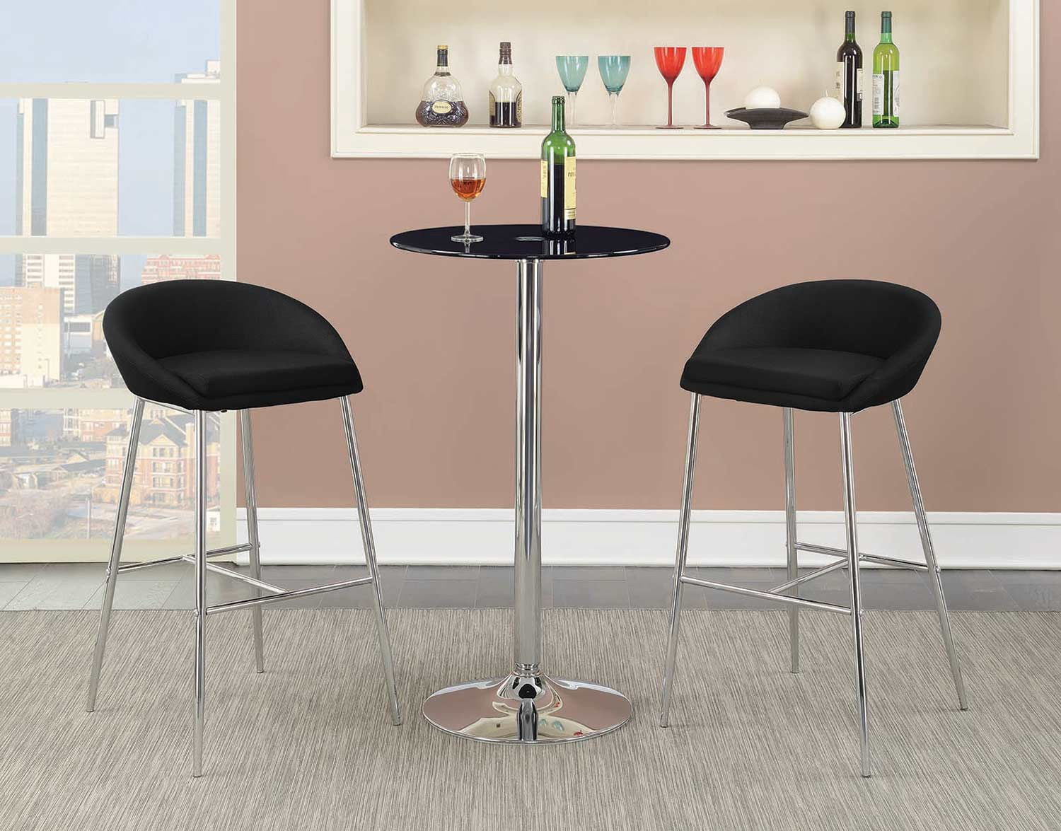 Coaster 121341 Round Glass Top Bar Table Set