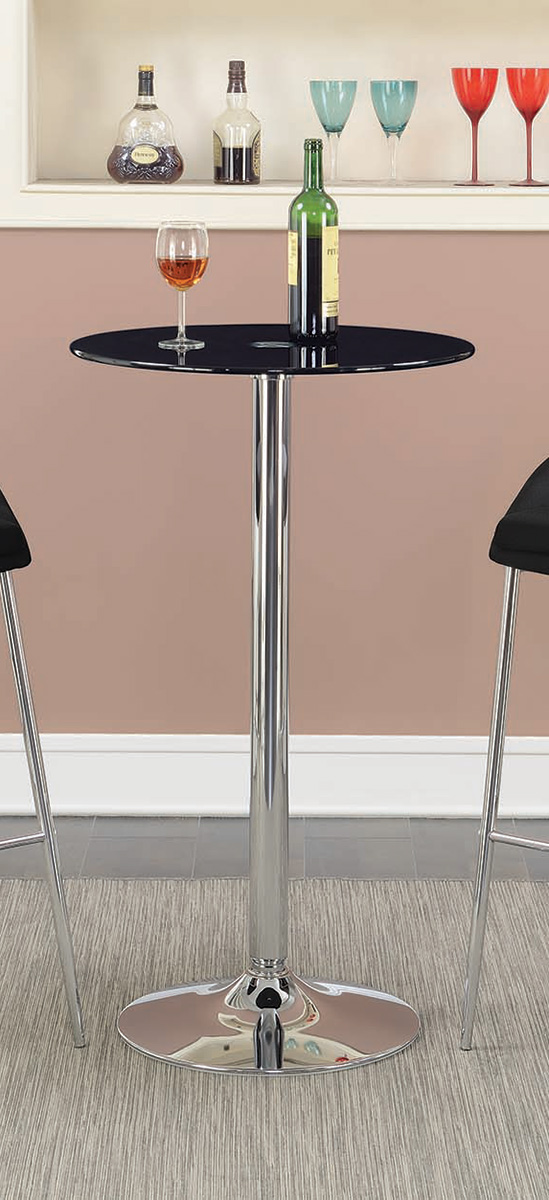 Coaster 121341 Round Glass Top Bar Table - Black Glass/Chrome Base