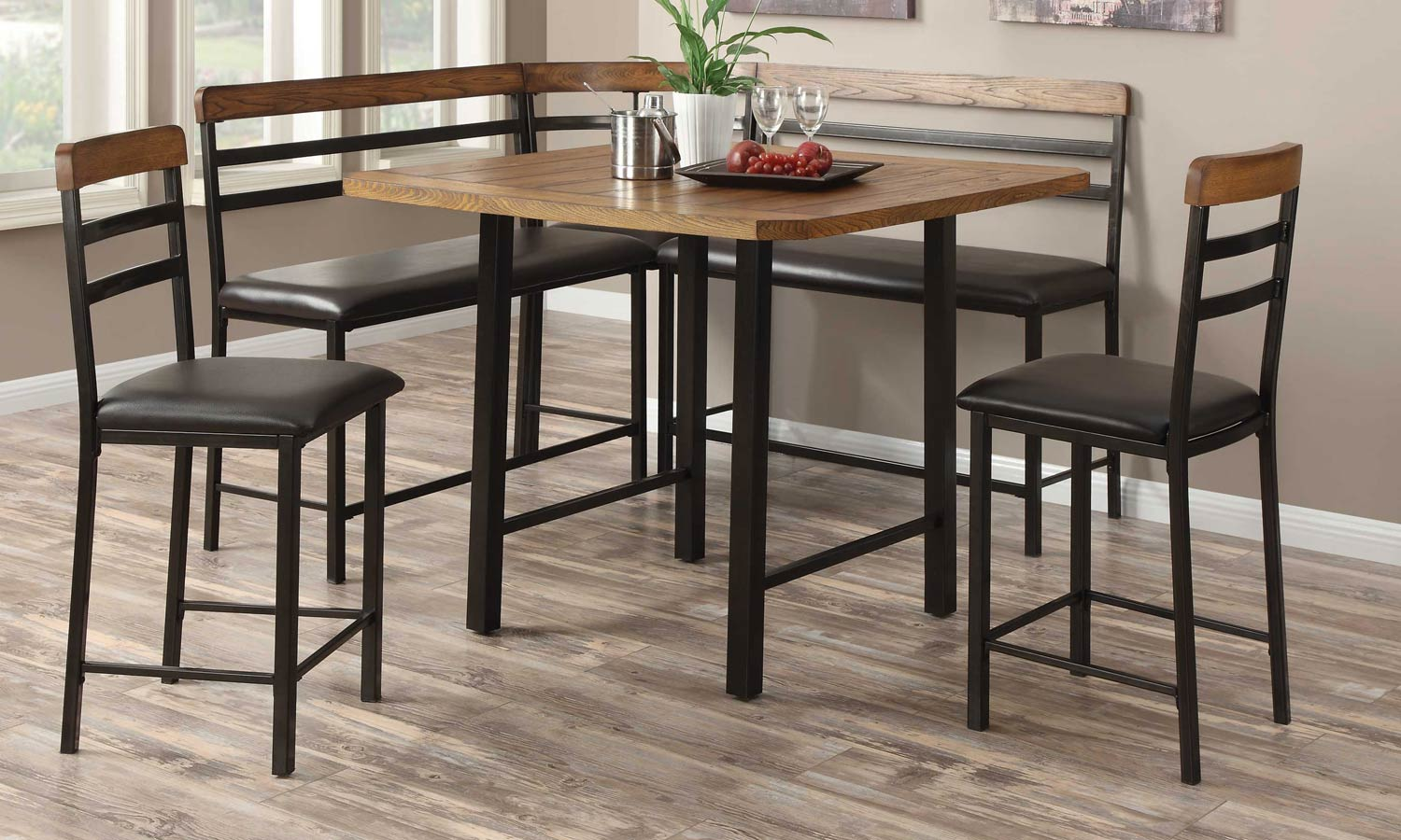 Coaster Sheldon Counter Height Dining Set - Oak/Black