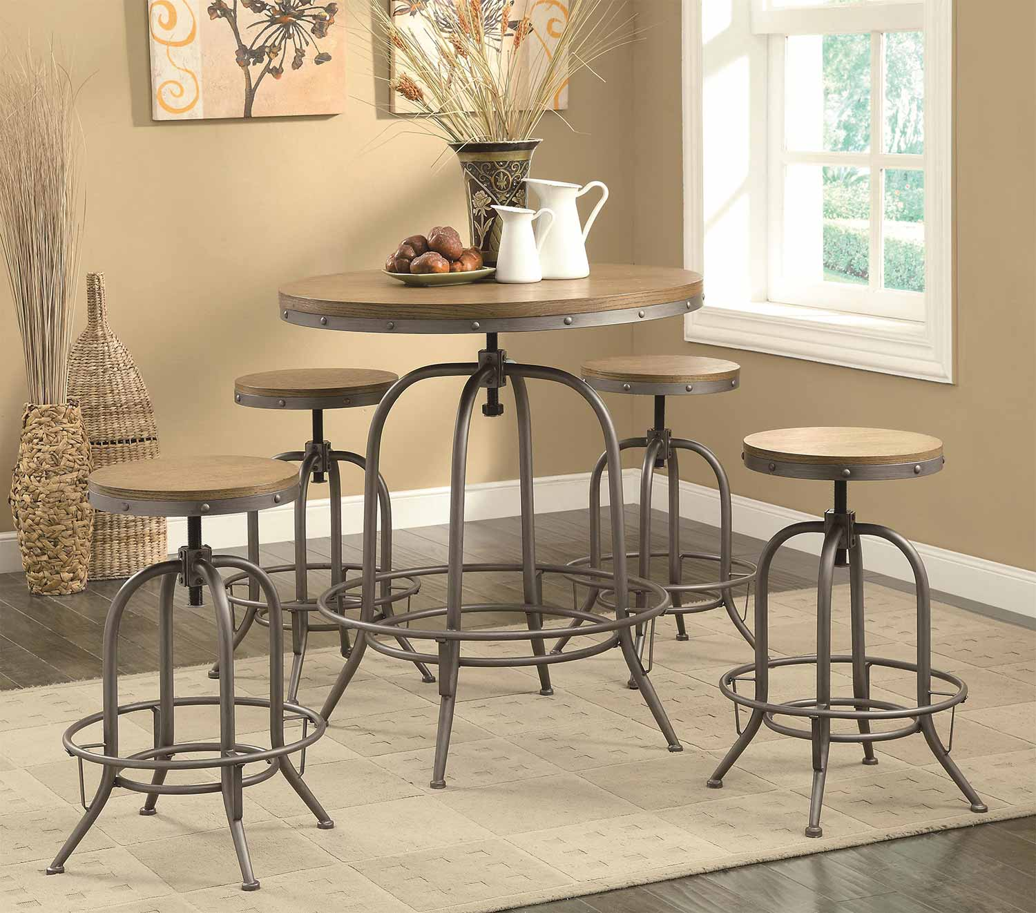 Coaster Transitional Adjustable Bar Set - Brown/Antique Black