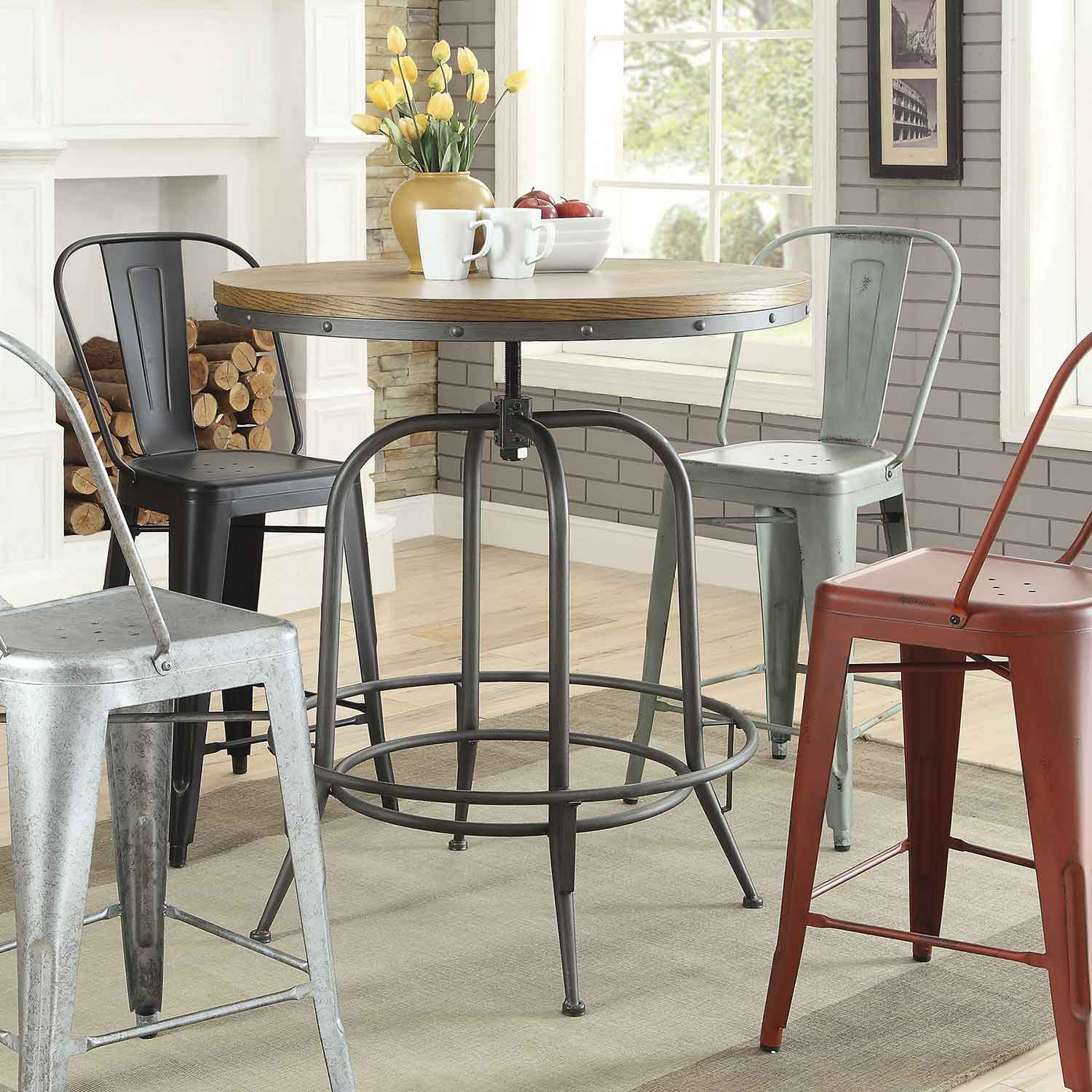 Coaster Transitional Adjustable Bar Table - Brown/Antique Black