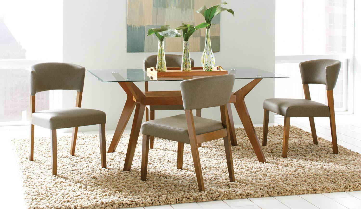 Coaster Paxton Glass Dining Set - Nutmeg