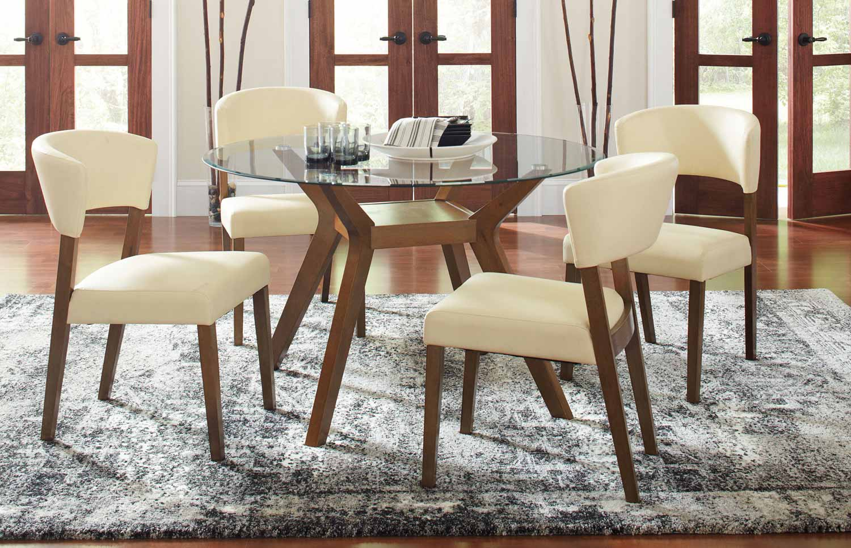 Coaster Paxton Round Glass Dining Set - Nutmeg