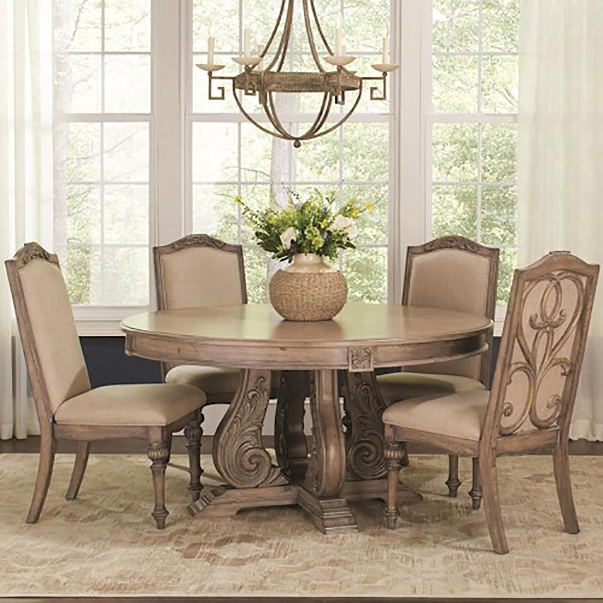 Coaster Iliana Round Dining Set - Antique Linen