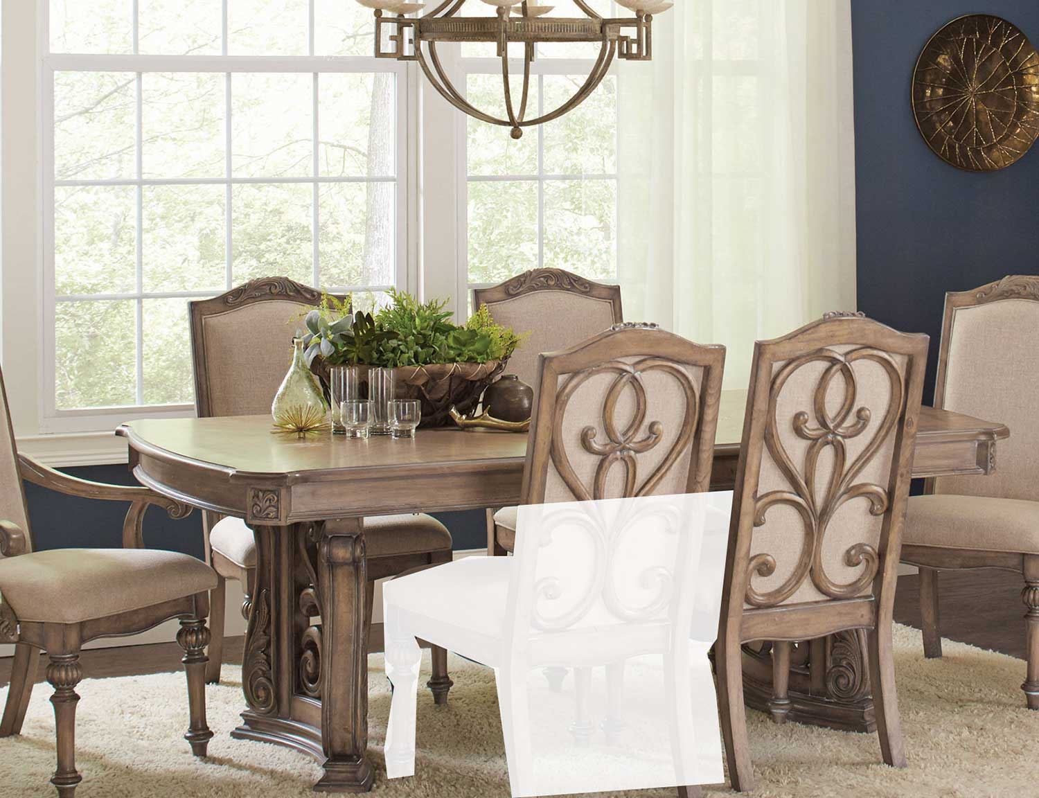 Coaster iliana rectangular dining table with leaf antique linen 122211 at homelement com