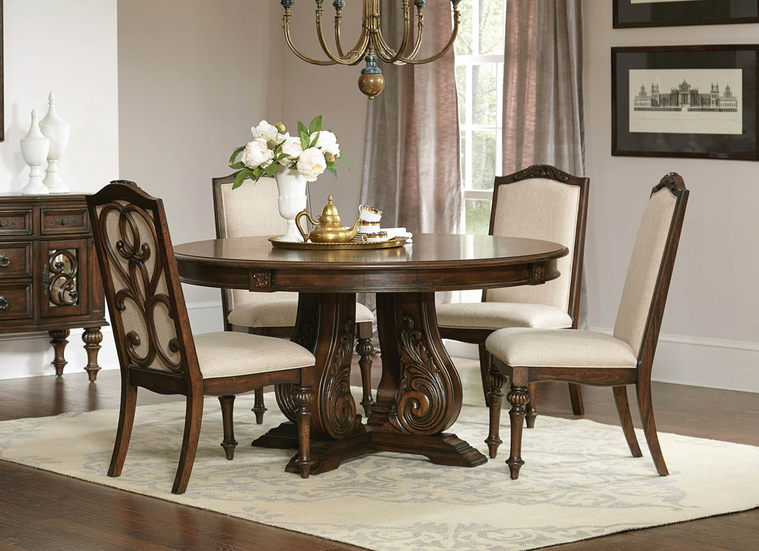 Coaster Ilana Round Dining Set - Antique Java
