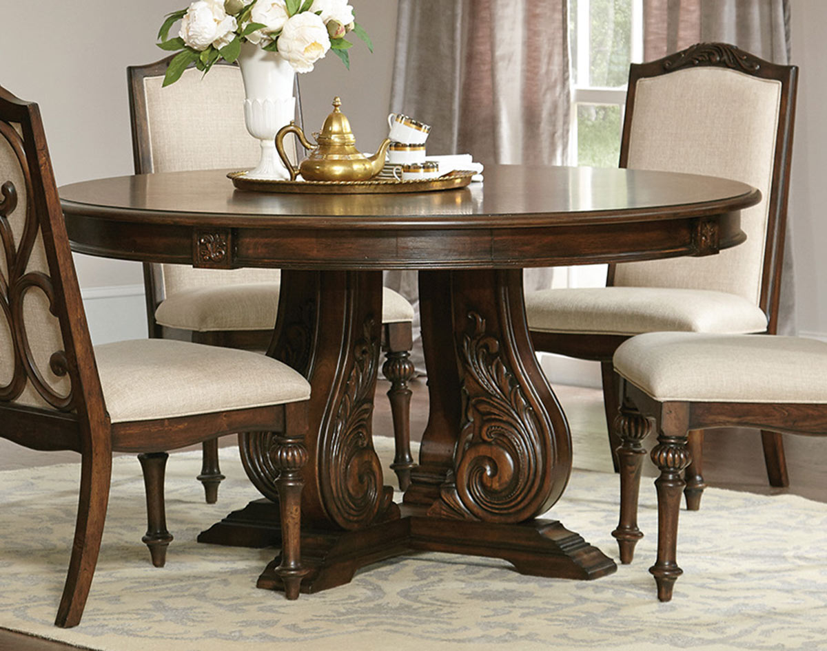 Coaster Ilana Round Dining Table - Antique Java