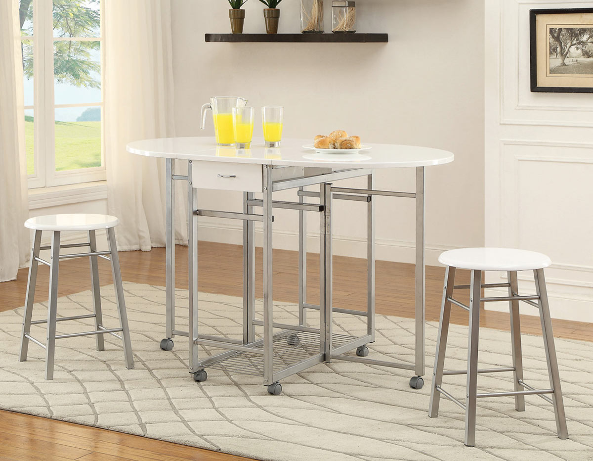 Coaster 130004 3 PC Counter Height Dining Set - White/Metal