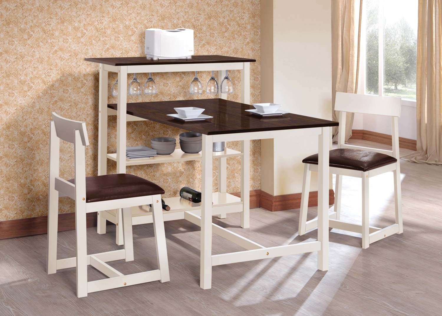 Coaster 130007 3 Pc Breakfast Table Set - Dark Espresso/White