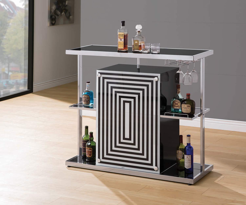 Coaster 130076 Bar Unit - Chrome/Black