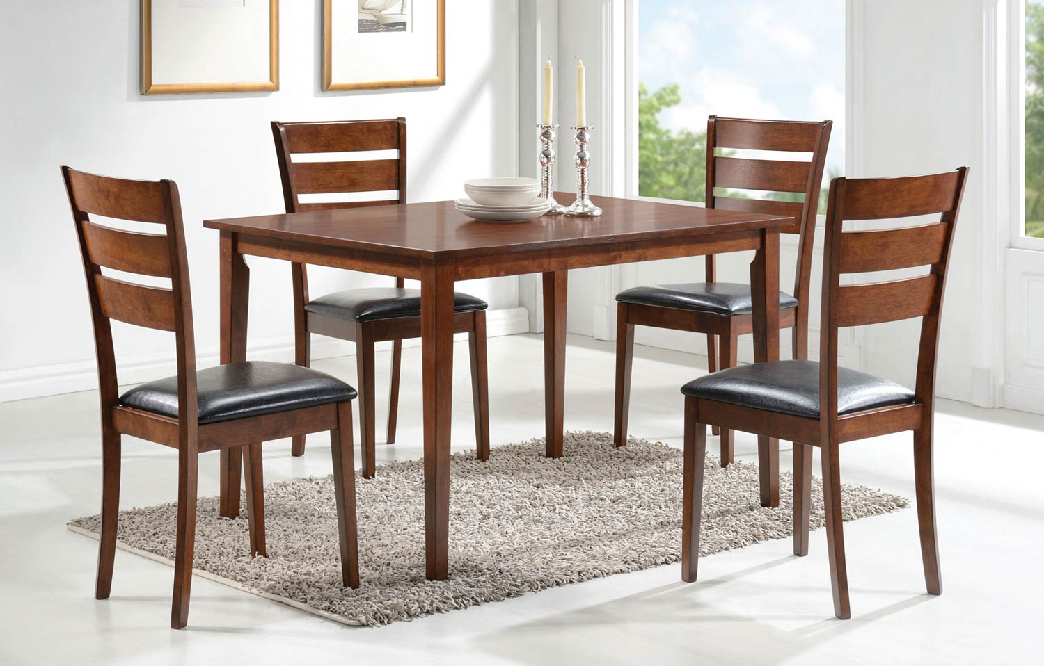 Coaster Shasta 5-Pc Dinette Set - Medium Brown/Dark Brown
