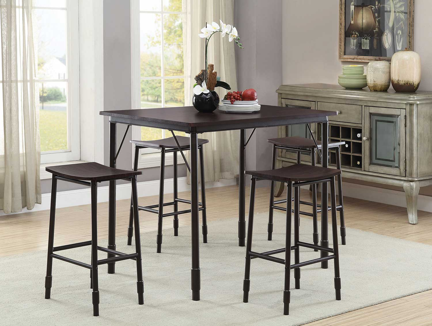 Coaster 150016 5 PC Counter Height Dining Set - Black